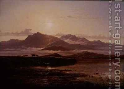 Morning on the bank of a loch by Arthur Gilbert - Reproduction Oil Painting
