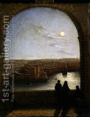 Inside the Fortifications Valetta View from an Arch by Night by Girolamo Gianni - Reproduction Oil Painting