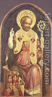 A Bishop Saint by Michele (di Taddeo di Giovanni Bono) Giambono - Reproduction Oil Painting