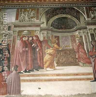 The Angel appearing to St Zacharias in the Temple by Davide Ghirlandaio - Reproduction Oil Painting