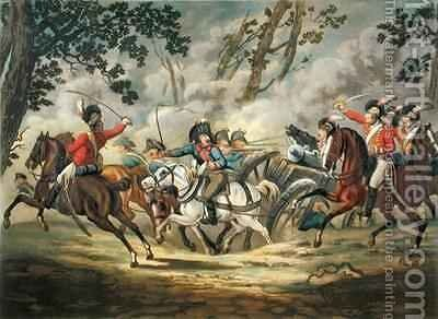 English Light Horse Attacking French Artillery by (after) Gessner, Conrad - Reproduction Oil Painting