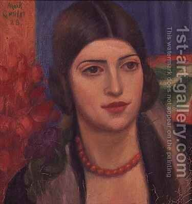 Portrait of a young woman by Mark Gertler - Reproduction Oil Painting