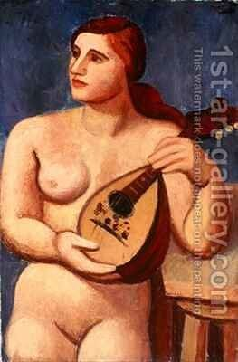 Nude with Mandolin by Mark Gertler - Reproduction Oil Painting