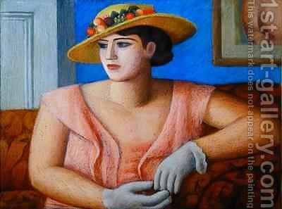 Portrait of Marjorie Gertler by Mark Gertler - Reproduction Oil Painting