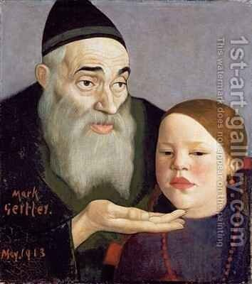 The Rabbi and his Grandchild by Mark Gertler - Reproduction Oil Painting