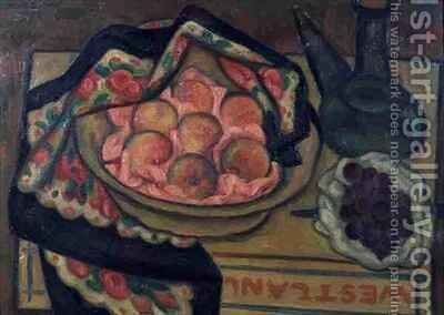 Peaches and a Green Bottle by Mark Gertler - Reproduction Oil Painting