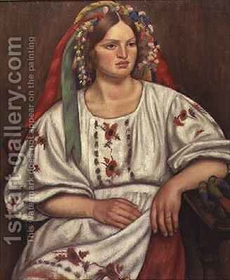 Russian Peasant Girl by Mark Gertler - Reproduction Oil Painting