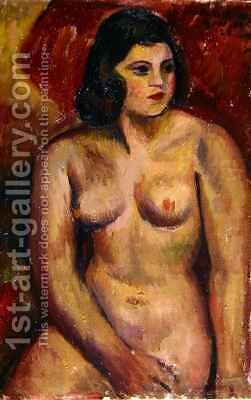 Study of a Female Nude by Mark Gertler - Reproduction Oil Painting