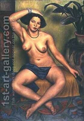 Seated Nude or Gypsy at her Toilet by Mark Gertler - Reproduction Oil Painting