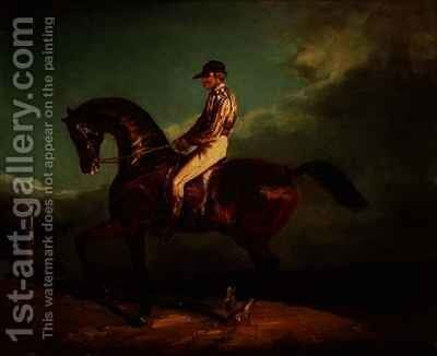 Jockey mounted on a racehorse by Theodore Gericault - Reproduction Oil Painting