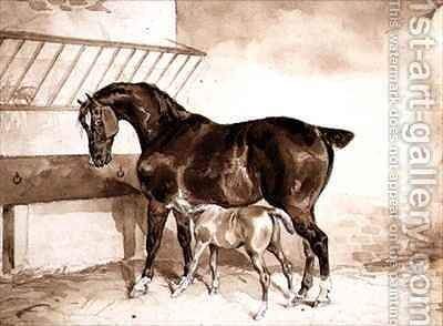 Mare and foal by Theodore Gericault - Reproduction Oil Painting
