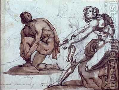Two nude figures by Theodore Gericault - Reproduction Oil Painting