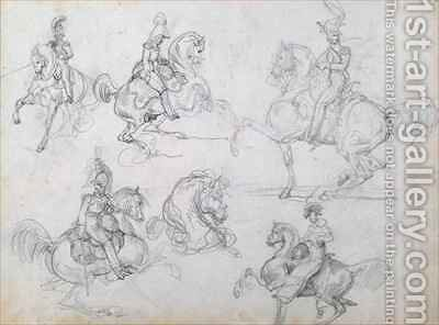Riders on prancing horses by Theodore Gericault - Reproduction Oil Painting