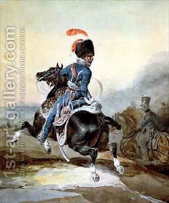 Artillery officer galloping to the left by Theodore Gericault - Reproduction Oil Painting