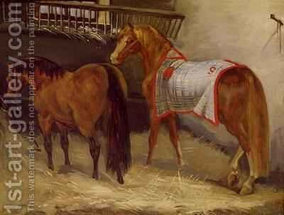 Horses in the Stables by Theodore Gericault - Reproduction Oil Painting