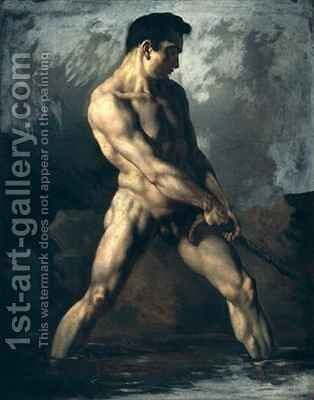 Study of a Male Nude by Theodore Gericault - Reproduction Oil Painting