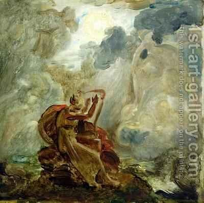 Ossian Conjures Up the Spirits with His Harp on the Banks of the River of Lora by Baron Francois Gerard - Reproduction Oil Painting