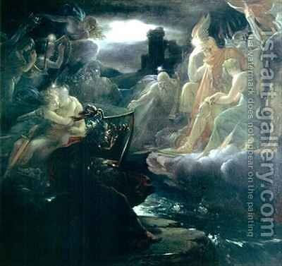 Ossian Conjuring up the Spirits on the Banks of the River Lora with the Sound of his Harp by Baron Francois Gerard - Reproduction Oil Painting