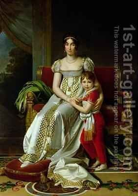 Hortense de Beauharnais 1783-1837 Queen of Holland and her Son Napoleon Charles Bonaparte 1802-07 by Baron Francois Gerard - Reproduction Oil Painting