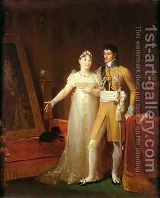 Portrait of Jerome Bonaparte 1784-1860 and his wife Catherine 1783-1835 of Wurtemberg by Baron Francois Gerard - Reproduction Oil Painting