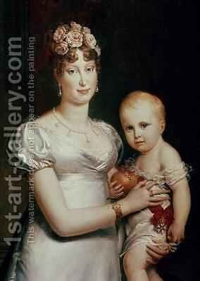 Marie Louise 1791-1847 of Habsbourg Lorraine and the King of Rome 1811-32 by Baron Francois Gerard - Reproduction Oil Painting