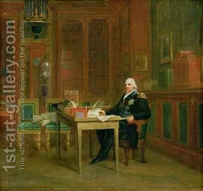 Louis XVIII 1755-1824 in his Study at the Tuileries by Baron Francois Gerard - Reproduction Oil Painting