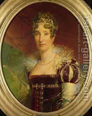 Portrait of Queen Marie Amelie of Bourbon 1782-1866 by Baron Francois Gerard - Reproduction Oil Painting