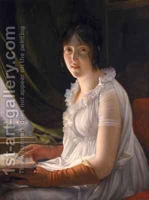 Seated Portrait of Marie Philippe Claude Walbonne by Baron Francois Gerard - Reproduction Oil Painting