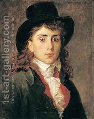 Portrait of Baron Antoine Jean Gros 1771-1835 Aged 20 by Baron Francois Gerard - Reproduction Oil Painting