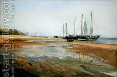 Cargo Ships on the Sands of the Elbe by Johann Martin Gensler - Reproduction Oil Painting