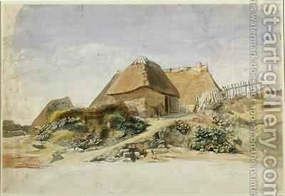 Fishermens Cabins at the Hopesberg Beach by Jacob Gensler - Reproduction Oil Painting
