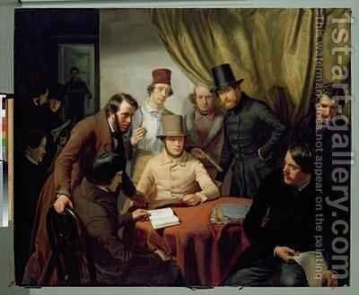 The Members of the Hamburg Artists Club 2 by Gunther Gensler - Reproduction Oil Painting