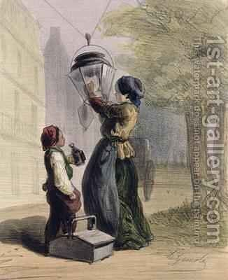 The Lamplighter by Alfred Andre Geniole - Reproduction Oil Painting
