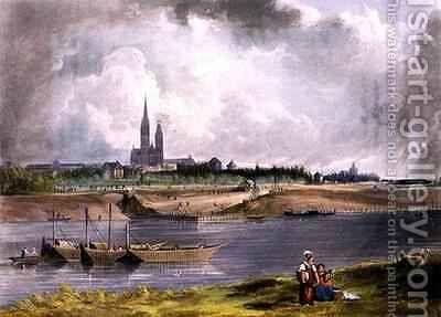 St Denis from Views on the Seine by (after) Gendall, John - Reproduction Oil Painting