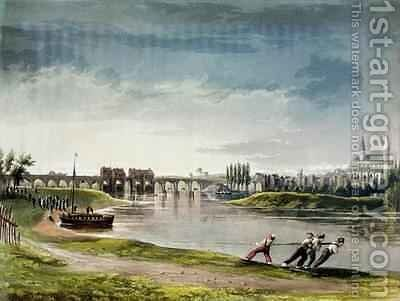 Poissy from Views on the Seine by (after) Gendall, John - Reproduction Oil Painting