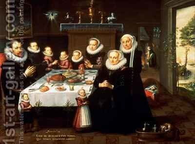A Portrait of a Family saying Grace Before a Meal by Gortzius Geldorp - Reproduction Oil Painting