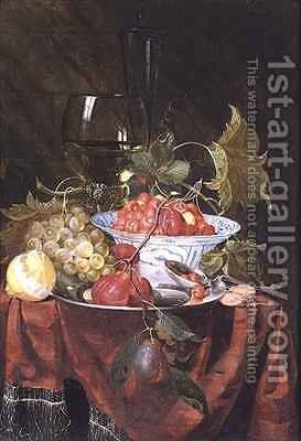 Still life with wild strawberries plums grapes and a lemon on a draped ledge by Nicolaes Van Gelder - Reproduction Oil Painting