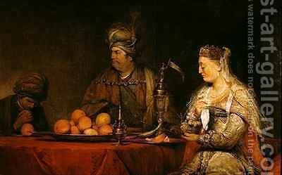 Haman and Ahasuerus at the Feast of Esther by Aert De Gelder - Reproduction Oil Painting