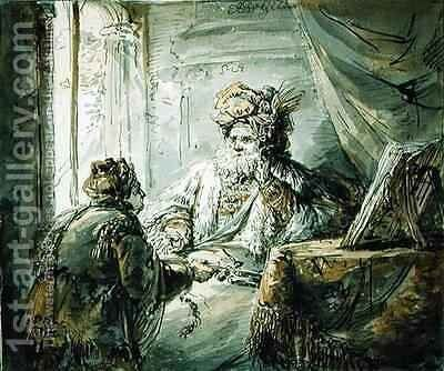 An Oriental Prince to whom the Man Presents a Sword by Aert De Gelder - Reproduction Oil Painting