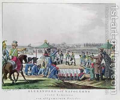Alexander I 1777-1825 and Napoleon 1769-1821 Take the First Steps Towards a General State of Peace by Christian Gottfried Geissler - Reproduction Oil Painting