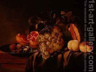 Still life of melon grapes pomegranate walnuts on a pewter plate and peaches by Jasper Geerards - Reproduction Oil Painting