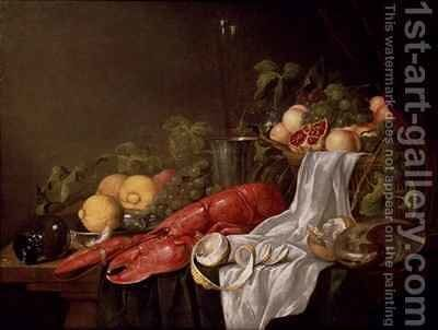 Still life of fruit and a lobster on a cloth draped table by Jasper Geerards - Reproduction Oil Painting