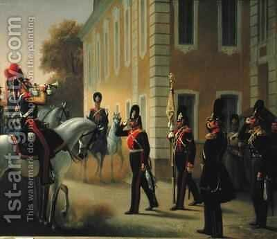 Parading of the Standard of the Great Palace Guards by Adolph Gebens - Reproduction Oil Painting