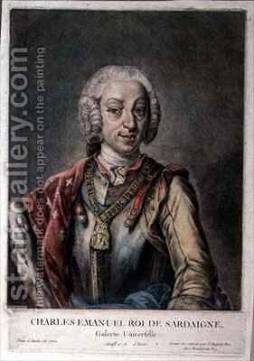 Portrait of Charles Emanuel III 1701-73 King of Sardinia by Jacques - Fabien Gautier - Dagoty - Reproduction Oil Painting