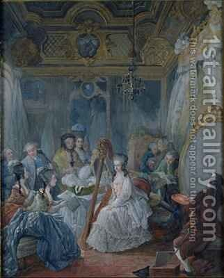 Marie Antoinette 1755-93 in her chamber at Versailles in 1777 by Jacques - Fabien Gautier - Dagoty - Reproduction Oil Painting