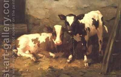 Calves in a Barn by David Gauld - Reproduction Oil Painting