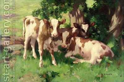 Three Calves in the Shade of a Tree by David Gauld - Reproduction Oil Painting