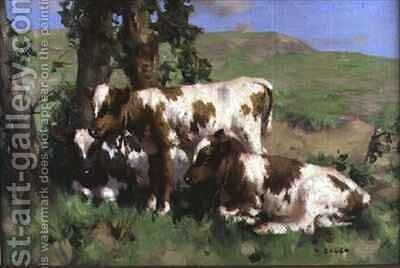 Three Calves in the Sunlight by David Gauld - Reproduction Oil Painting