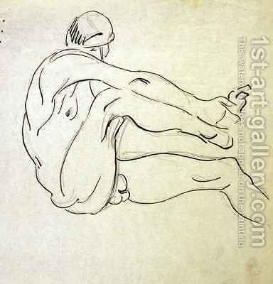 Male Nude holding his right Foot by Henri Gaudier-Brzeska - Reproduction Oil Painting