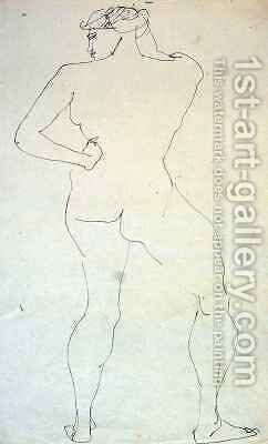 Female Nude from Back by Henri Gaudier-Brzeska - Reproduction Oil Painting